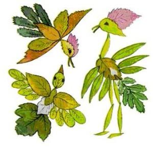 Аппликация для малышей из листьев