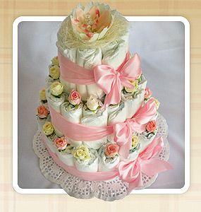 подарок для новорожденного, торт из памперсов