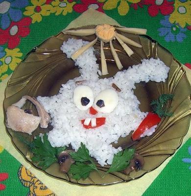 каша в виде смешарика - украшаем для детей