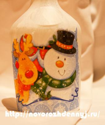 декорирование новогодней бутылки