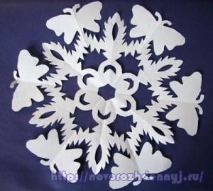 снежинка с бабочками чертеж