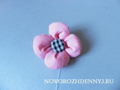 цветочек из ткани для рюкзака