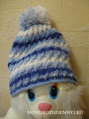 готовая шапка спицами для ребенка