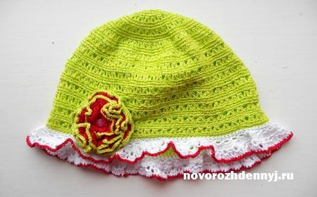 Летняя шапочка крючком для девочки схема. Уроки вязания
