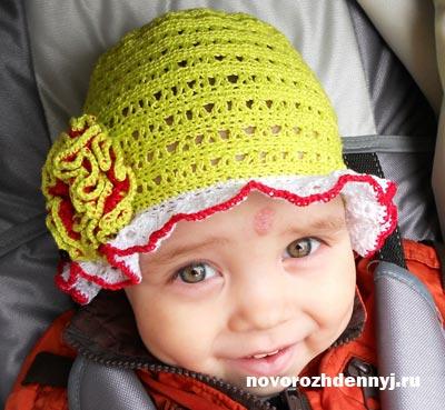 шапочка на девочку летняя вязанная