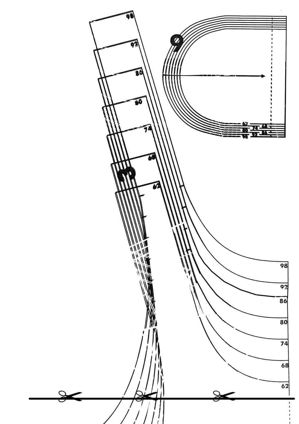 Выкройка лифа сарафана Верхний контур (спинка). На линии спинки от точки Г вверх отложить 4 см, поставить точку Е1. Точки E1, E соединить слегка выпуклой