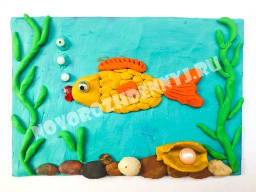 """картинка из пластилина для детей """"Рыбка в море"""""""