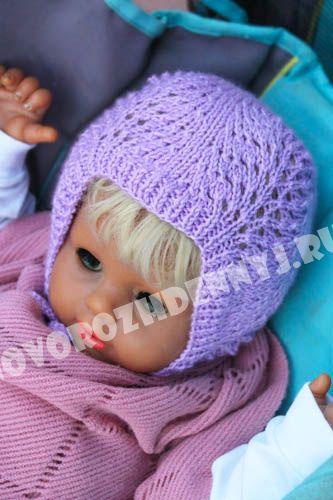 ажурная шапочка для девочки спицами