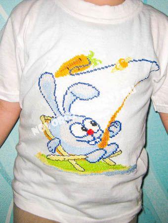 """вышивка на футболке """"смешарик крош"""""""