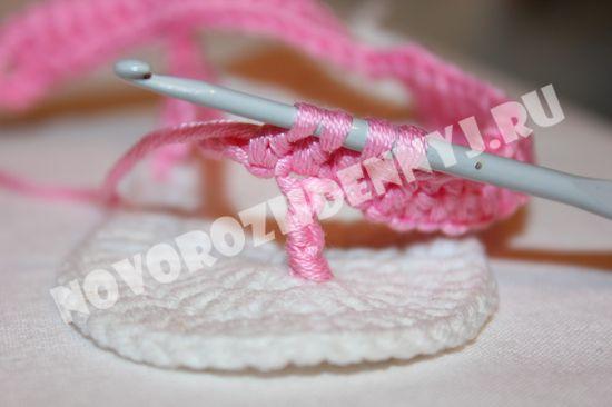 пинетки сандалики крючком для девочки