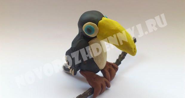 поделка попугай из пластилина