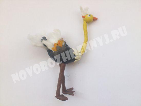 птица страус из пластилина