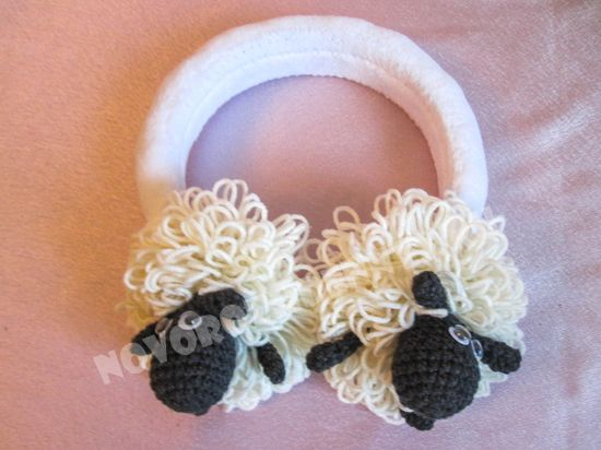 вязанные наушники овечки, крючком для детей