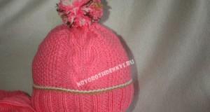 шапка с косами для девочки