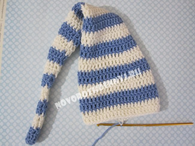 шапочка буратино для новорожденного крючком