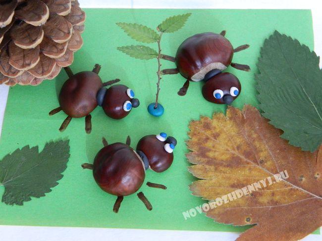 поделка: жуки в осеннем лесу