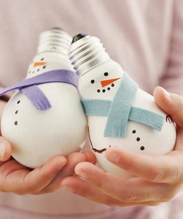 Поделки из лампочек снеговик своими руками